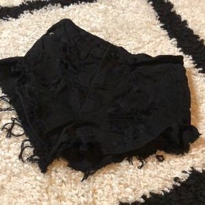 KanCan Black Distressed Stretchy Shorts